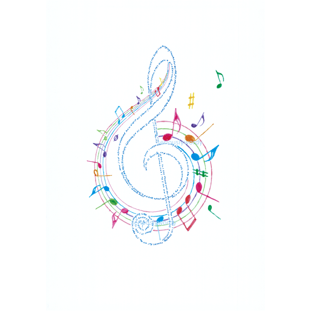 Seriously Wordy Wall Art Seriously Wordy Artwork - Colour G Clef