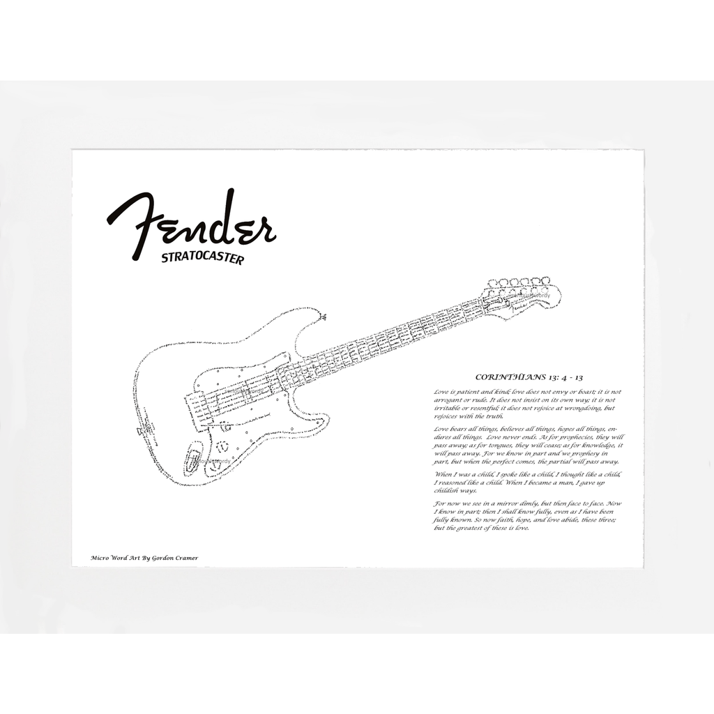 Seriously Wordy Wall Art Seriously Wordy Artwork - Fender Stratocaster Guitar with Corinthians 13:4-13