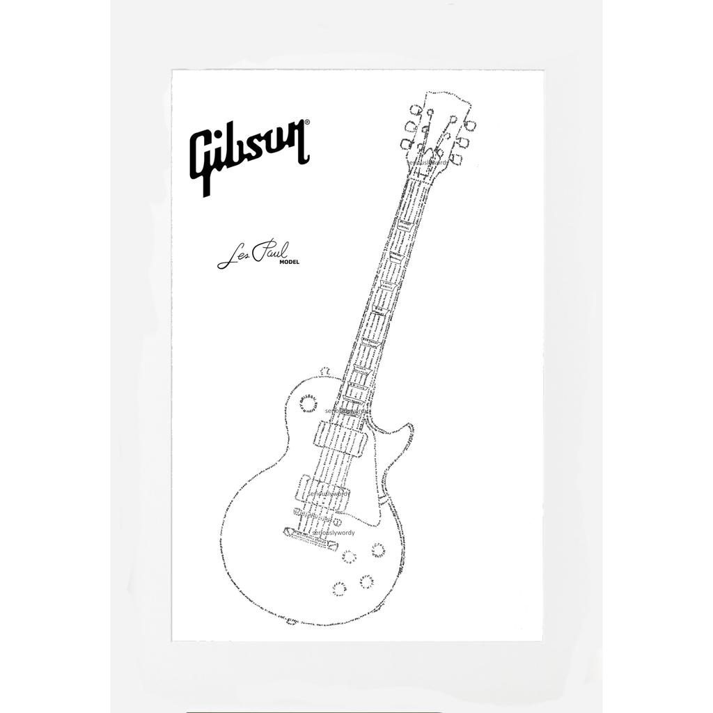 Seriously Wordy Wall Art Seriously Wordy Artwork - Gibson Les Paul Guitar