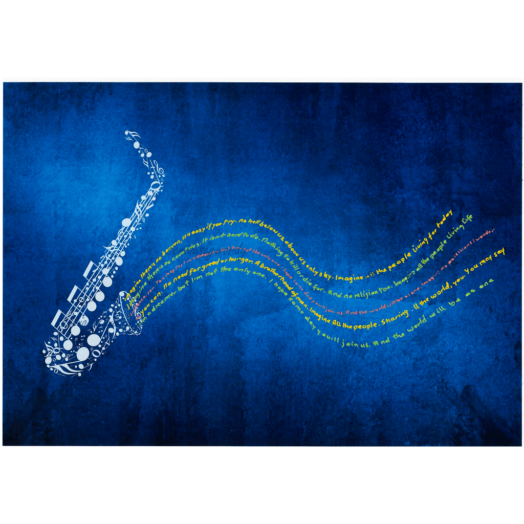 Seriously Wordy Wall Art Seriously Wordy Artwork - Saxophone with Imagine Lyric