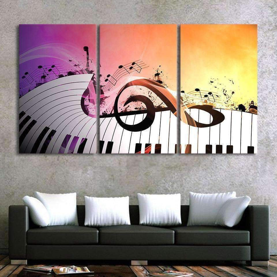 Set of 3 - Large G Clef with Keyboard Canvas Poster Wall Art Music Gift