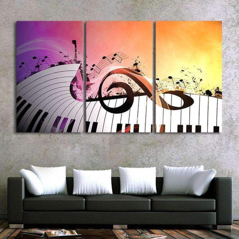 Image of Set of 3 - Large G Clef with Keyboard Canvas Poster Wall Art Music Gift