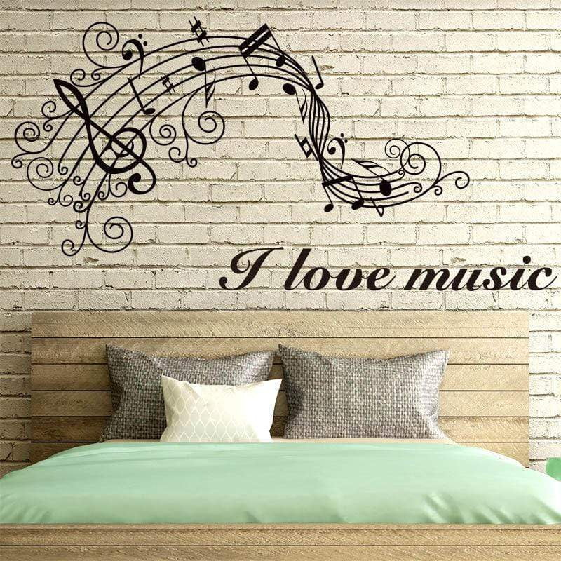 Wall Stickers Music Themed Home Decor - I Love Music