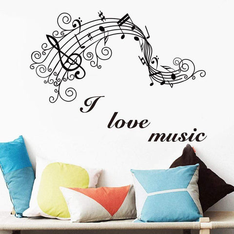 Image of Wall Stickers Music Themed Home Decor - I Love Music