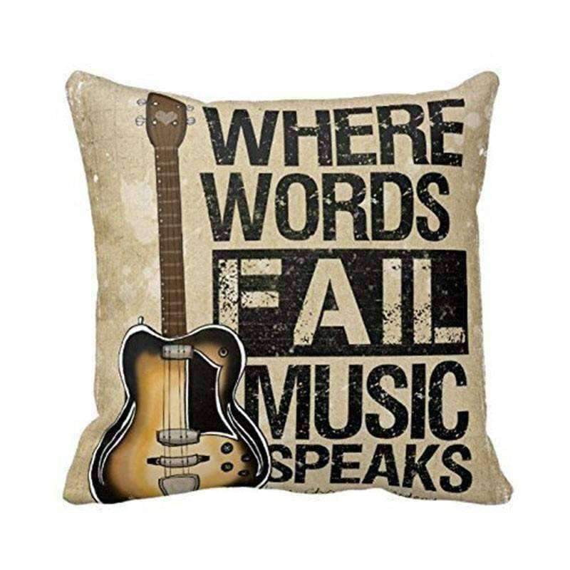 Music Bumblebees Where Words Fail Music Speaks Music Themed Cushion Pillow Case Cover with Music Notes and Piano Various Patterns - Keyboard, Guitar, Piano, Saxephone, French Horn, Trumpet