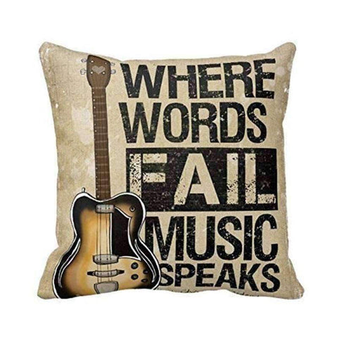 Image of Music Bumblebees Where Words Fail Music Speaks Music Themed Cushion Pillow Case Cover with Music Notes and Piano Various Patterns - Keyboard, Guitar, Piano, Saxephone, French Horn, Trumpet