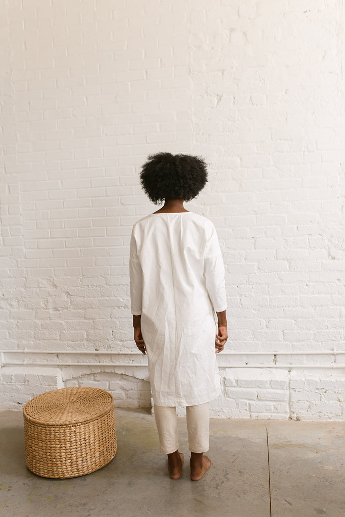 XL Rebecca Dress in White Cotton Poplin - Sample