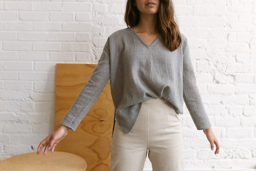 Large Lucia Sweater in Clay Wool Gauze - Sample