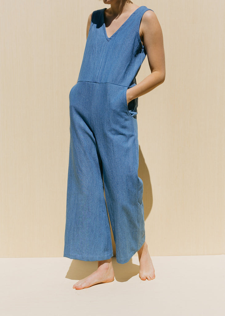 Meduim Rai Jumpsuit in Moss Linen - Sample
