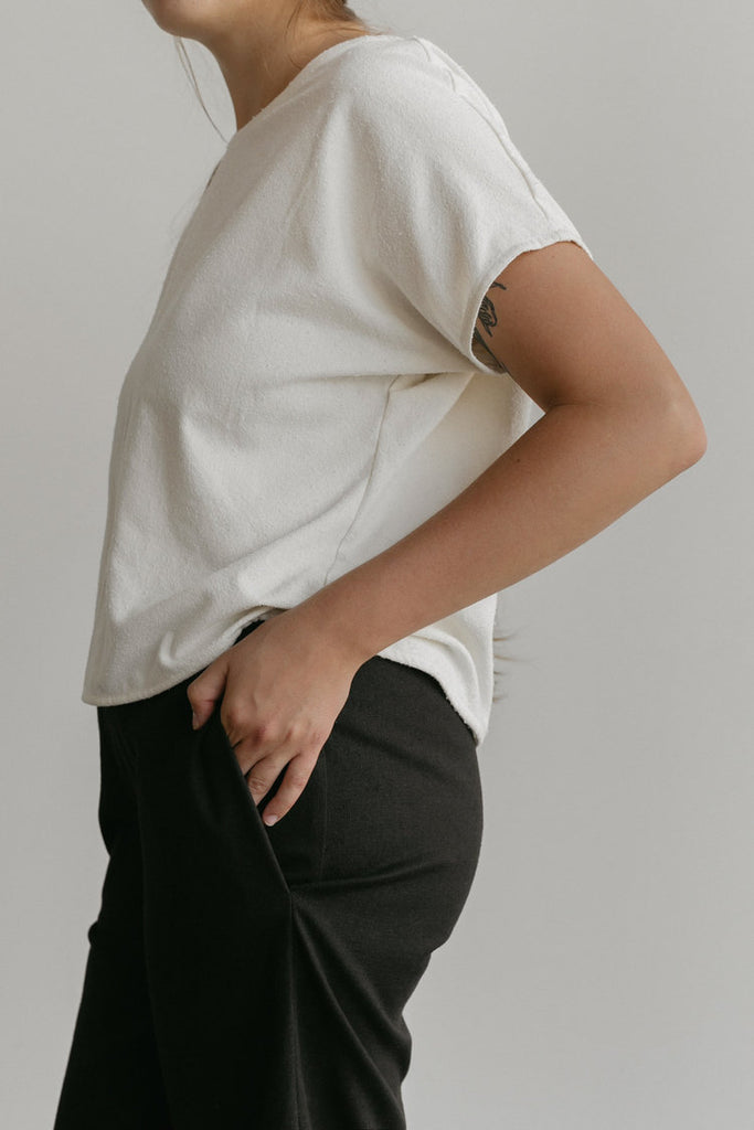 Large Salome Pant in Black Hemp/Cotton Canvas - Sample
