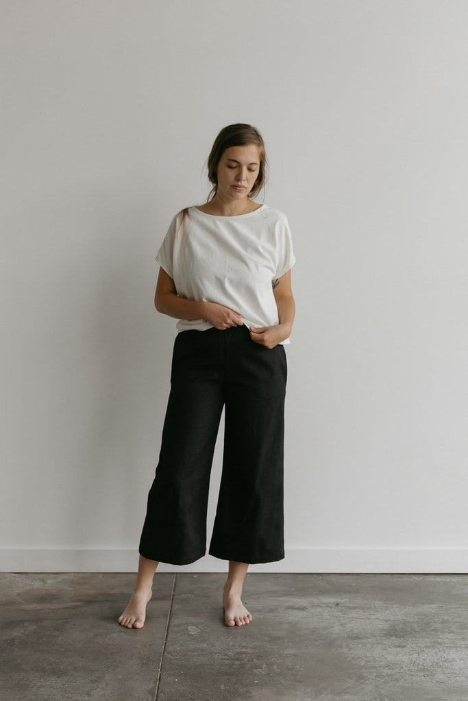 Small Salome Pant in Black Hemp/Cotton Canvas - Sample