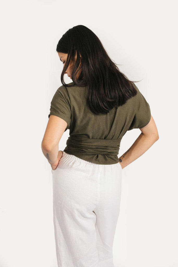 Short Sleeve Clara Top in Raw Silk