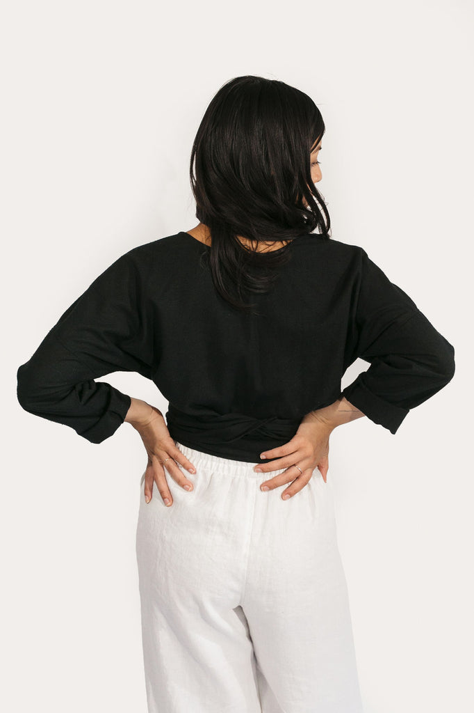 Long Sleeve Clara Top in Raw Silk