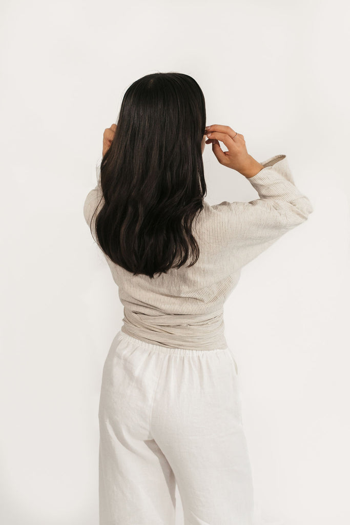 Long Sleeve Clara Top in Cotton/Linen