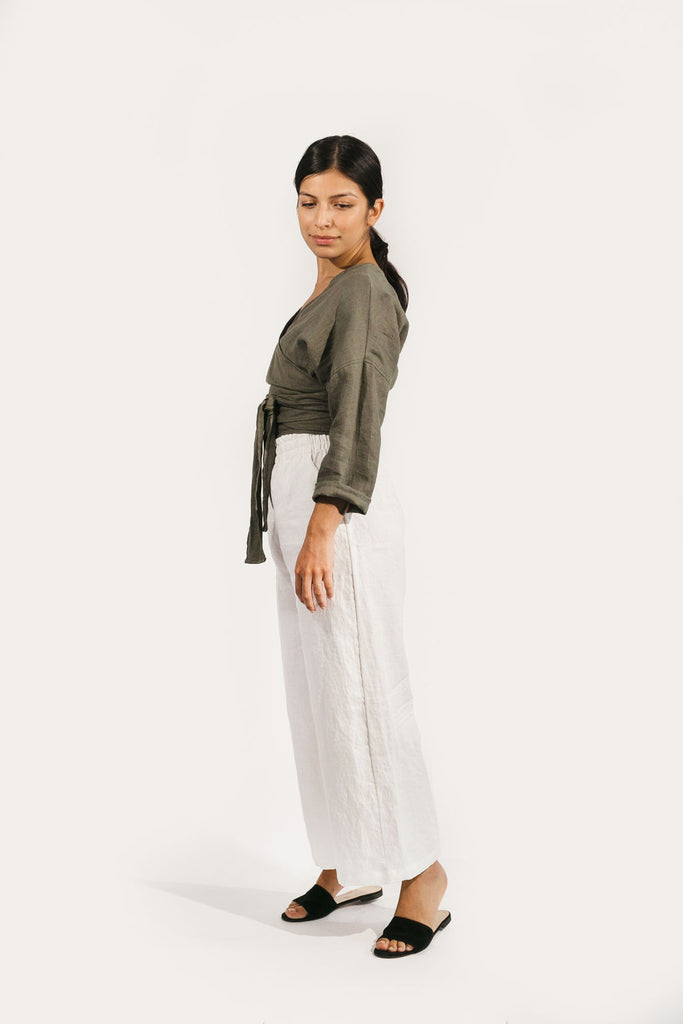 Long Sleeve Clara Top in Linen