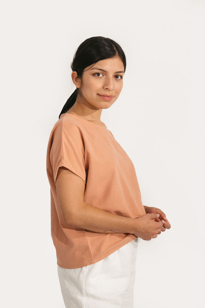 Large Krissy Tee Regular Length in Dusty Rose Raw Silk - Sample
