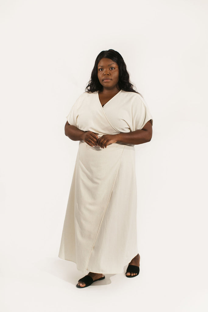 Short Sleeve Clara Dress in Raw Silk
