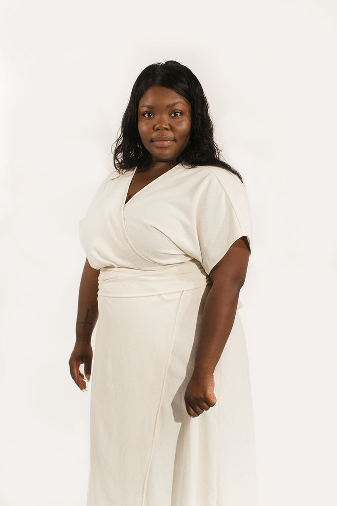 3XL Short Sleeve Clara Dress in Ivory Raw Silk - Sample