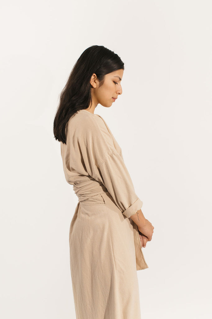 Long Sleeve Clara Dress in Raw Silk