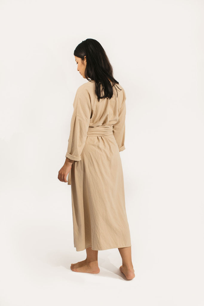 Small Long Sleeve Clara Dress in Sand Raw Silk - Sample