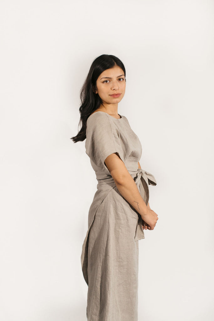 Short Sleeve Clara Dress in Linen