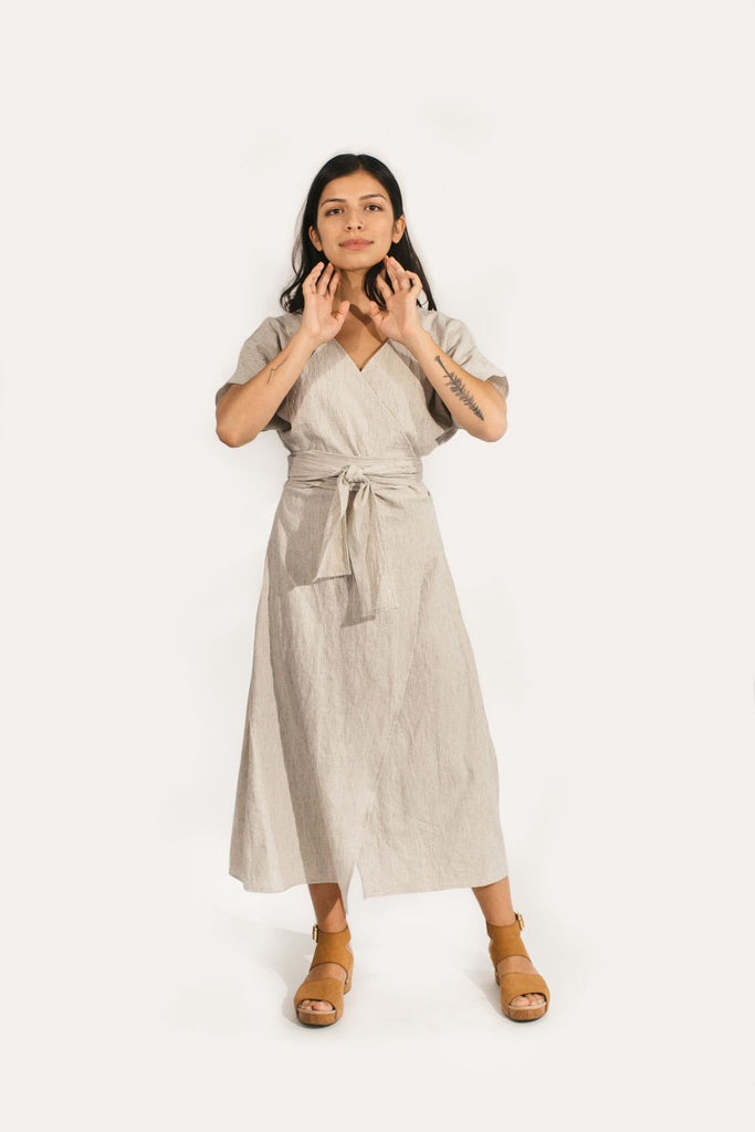 Small Short Sleeve Clara Dress in Cotton/Linen Stripe - Sample