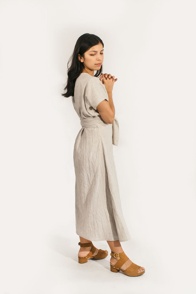 Short Sleeve Clara Dress in Cotton/Linen