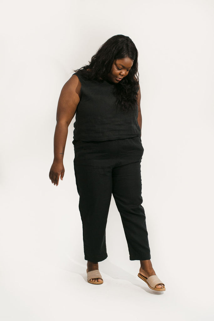 XL Tapered Short Length Harris Pant in Black Linen - Sample