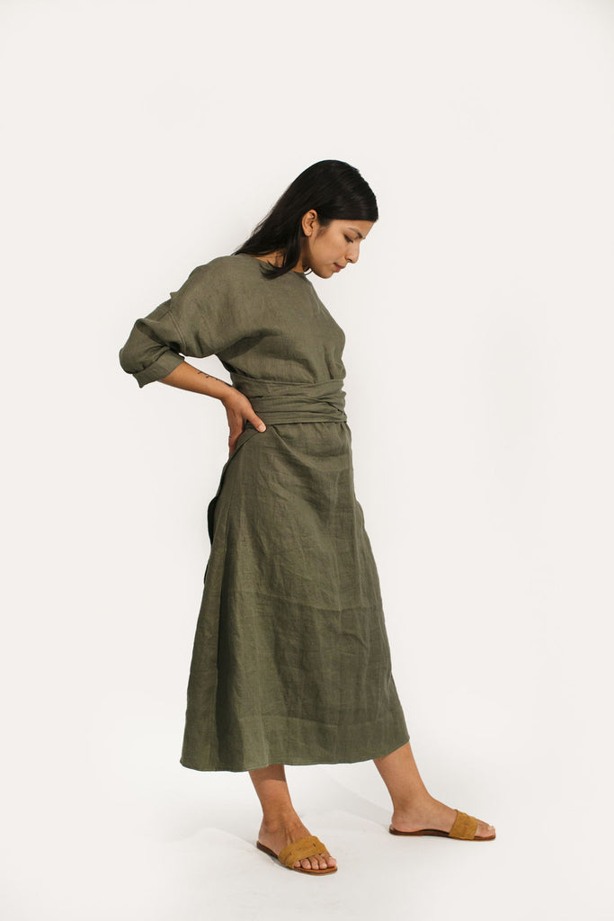 Long Sleeve Clara Dress in Linen
