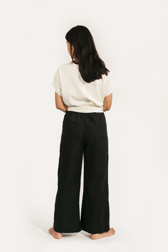 Small Wide Leg Regular Length Harris Pant in Black Linen - Sample