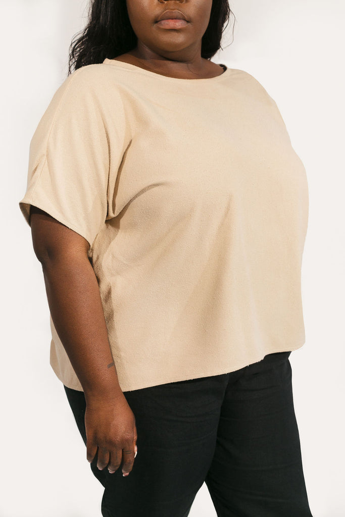 2XL Krissy Tee in Sand Raw Silk - Sample