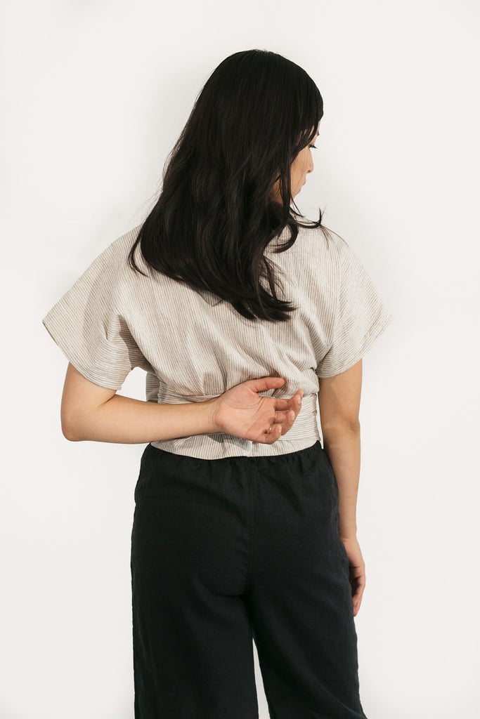 Short Sleeve Clara Top in Cotton/Linen