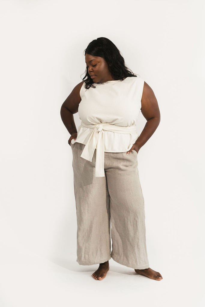 XL Wide Leg Regular Length Harris Pant in Flax Linen - Sample