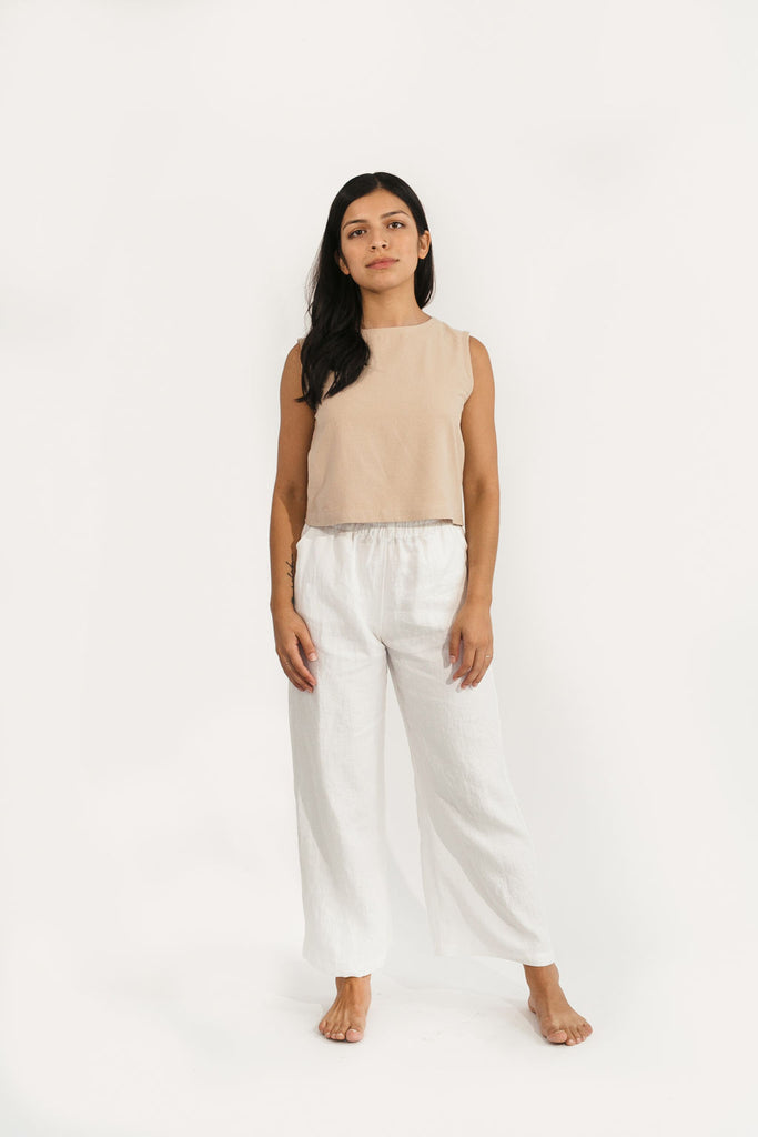 XL Regular Harris Wide Leg Pant in Ivory Linen - Sample