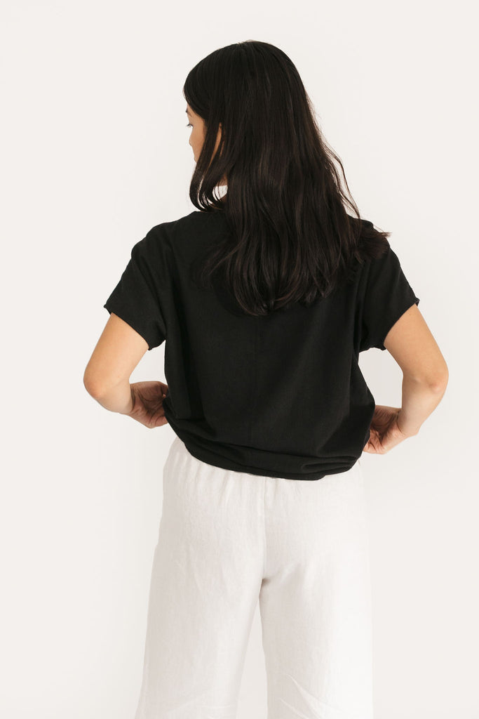 XL Long Krissy Tee in Black Raw Silk - Sample