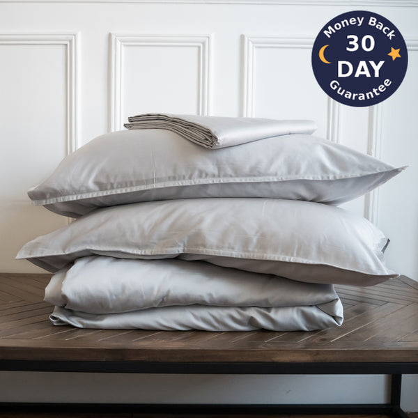 Sateen Paris Duvet Cover Set Stonewashed Cotton - Ginkova