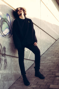 BLACK OVERSIZED SWEATER WITH EMBROIDERED LOGO - Noah Christian