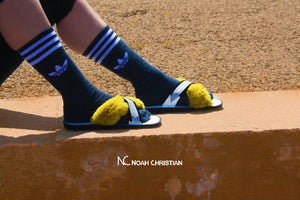 PREMIUM FAUX FUR & REFLECTIVE HAND PAINTED ZORI SANDALS - Noah Christian Studio