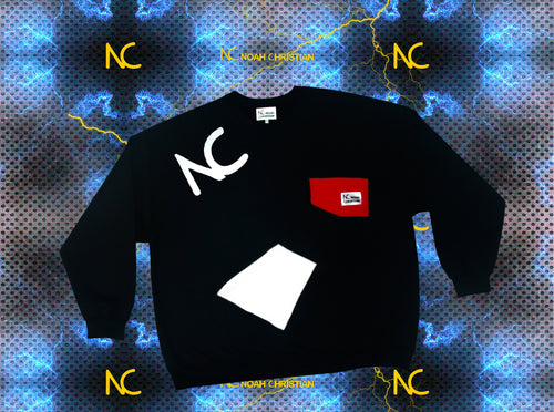 BLACK NC POCKET OVERSIZED SWEATER - Noah Christian Studio