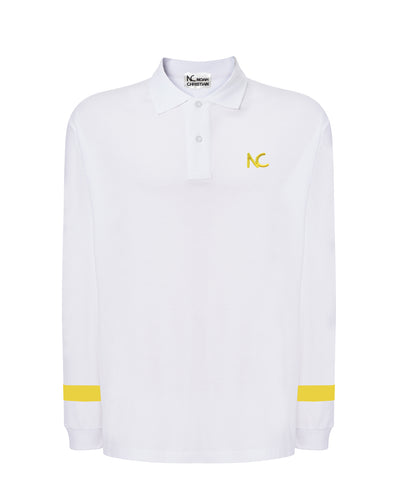 LIMITED EDITION - NC POLO CLASSIC FIT - LONG SLEEVE - WHITE/YELLOW