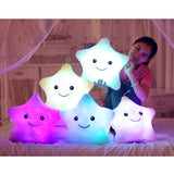 Star shaped plush pillow with soft luminous LED light for kids - Magic Beans Ink