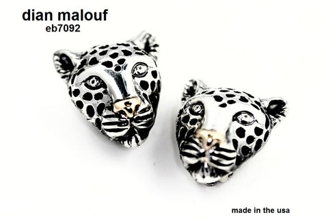 Sterling silver leopard earrings with gold nose (CLIP ONLY)