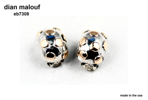 Sterling silver ½ dome earrings with 14k gold boxes (CLIP ONLY)
