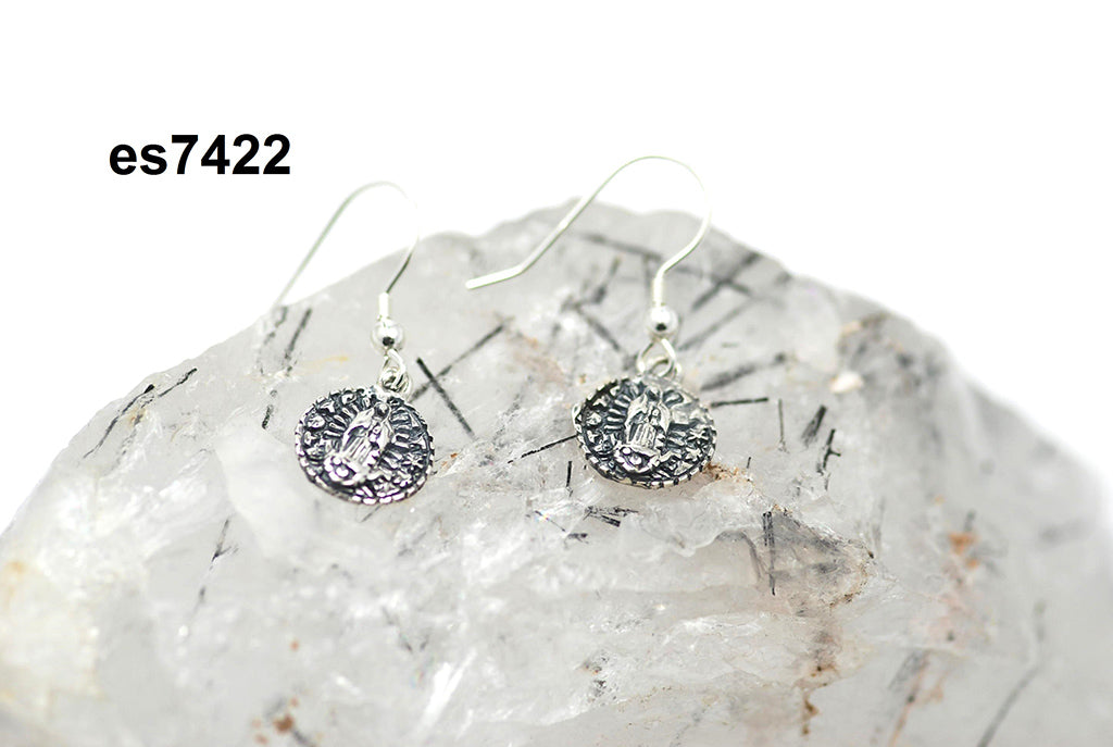 Tiny round Virgin sterling earrings (pierced)