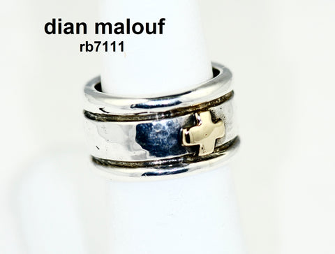 Sterling silver round band with 14k gold cross