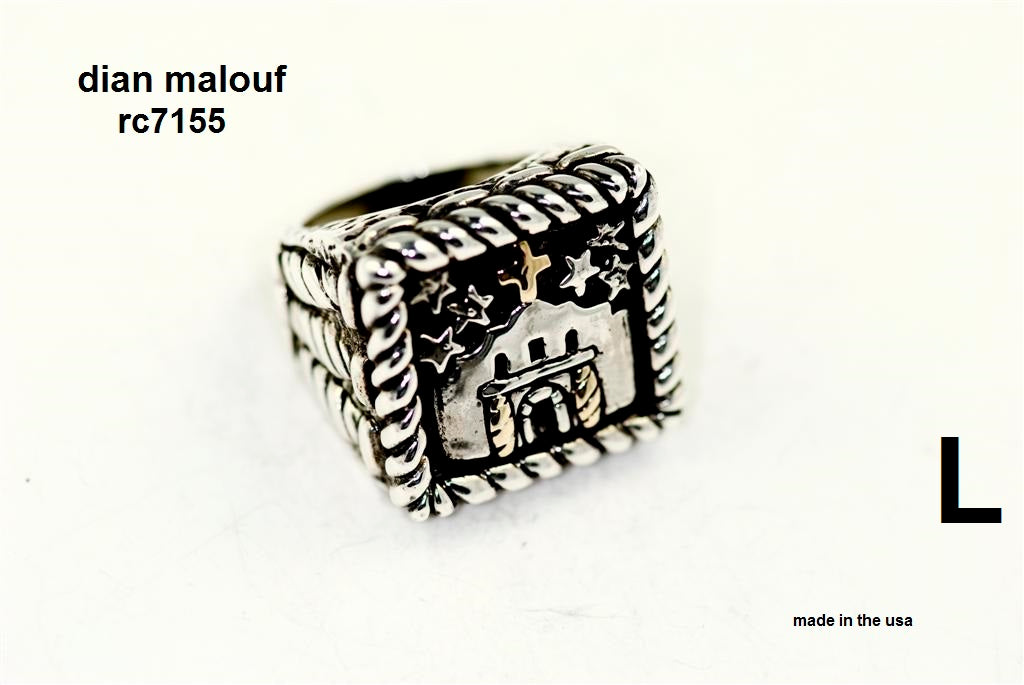 "Sterling silver ""remember the alamo"" ring with 14k gold cross and door pillars"
