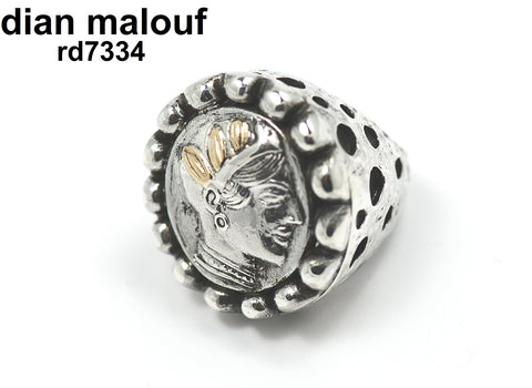 Sterling silver crater coin ring with 14k gold leaf headdress