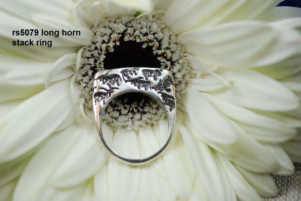 Sterling silver multi longhorn stack ring (flat)