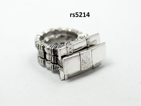 sterling silver oriental 3pc stack ring set on beaded band