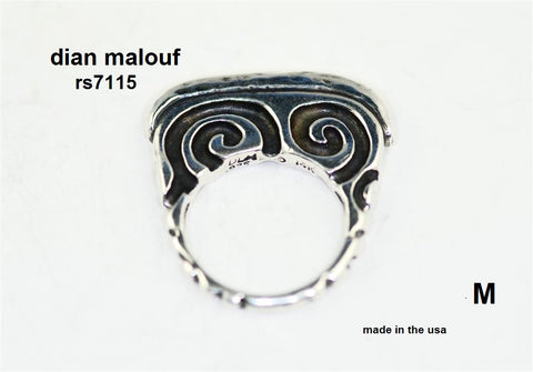 Sterling silver flat swirl stack ring